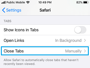 Close Tabs Option On iPhone Safari Browser