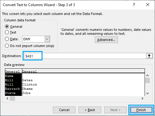 Remove Comma, Separate First and Last Names Using Text to Columns Wizard