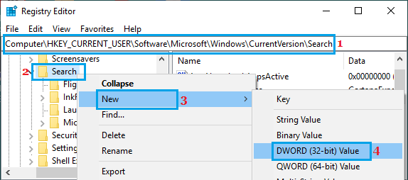 Create New DWORD in Windows Search Registry