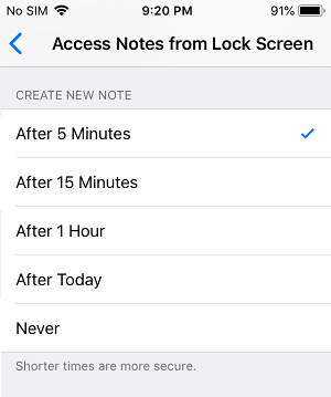 Create New Note on iPhone Lock Screen After Time