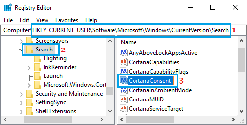 Open CortanaConsent Entry in Windows Registry