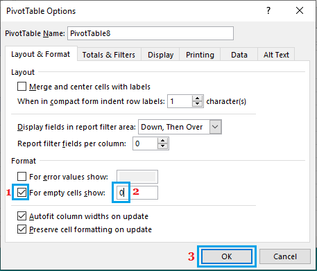 Pivot Table Options Screen