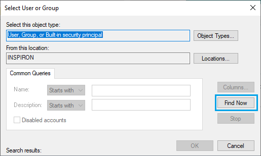 Find User and Groups Option in Windows