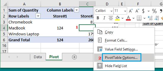 Open Pivot Table Options
