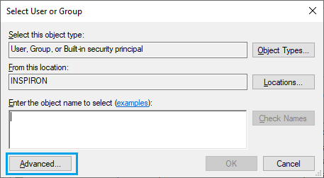 Adavnced Option on Select User or Group Screen in Windows