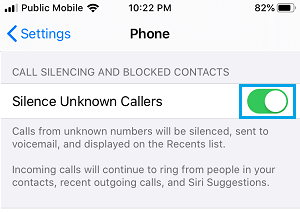Silence Unknown Callers Option on iPhone