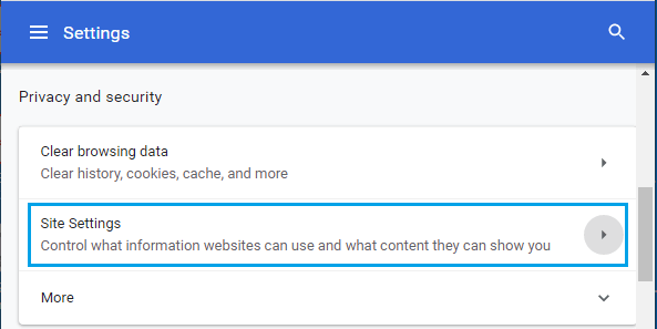 Site Settings Option on Chrome Browser