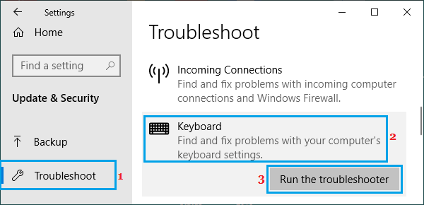 Run Keyboard Troubleshooter on Windows PC