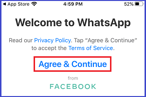 Agree to WhatsApp Terms & Conditions
