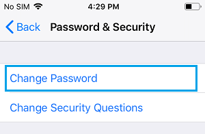 Change Password Option on iPhone