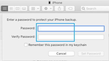 Setup Encrypted iPhone Backup Password on Mac