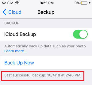 Last Successful iCloud Backup Date