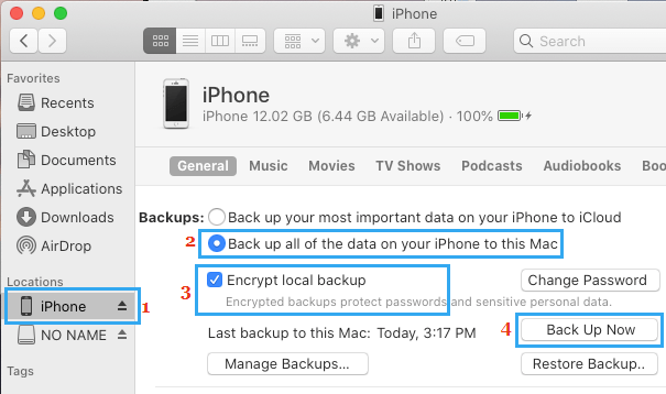 Make Encrypted iPhone Backup on Mac