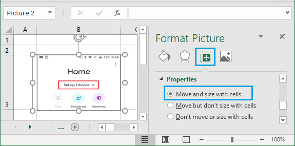 Make Picture Move and Size With Cells in Excel