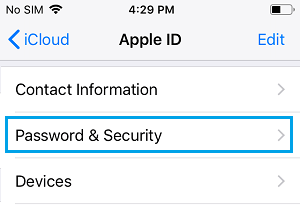 Password & Security Settings Option on iPhone