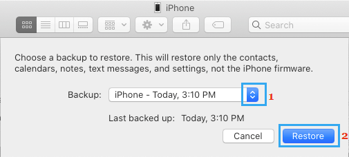 Select Backup to Restore iPhone on Mac