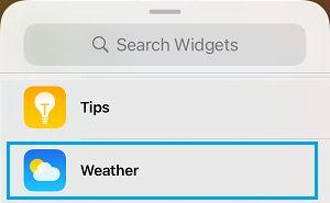 Select Weather Widget on iPhone