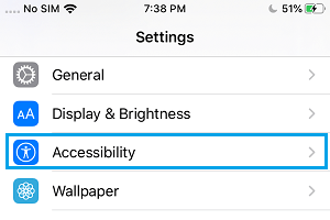 Accessibility Settings Option on iPhone