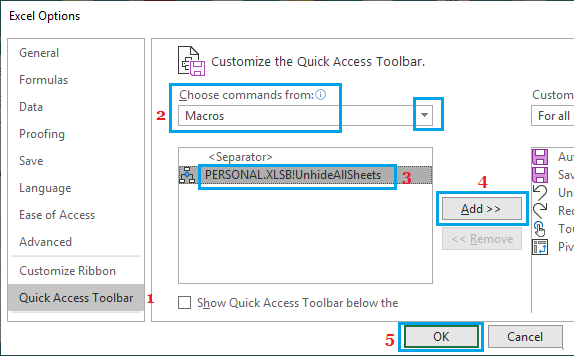 Add UnhideAllSheets Macro Icon to Quick Access Toolbar in Excel