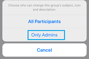 Allow Only Admins to Change WhatsApp Group Info