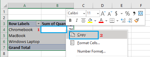 Copy Pivot Table Data
