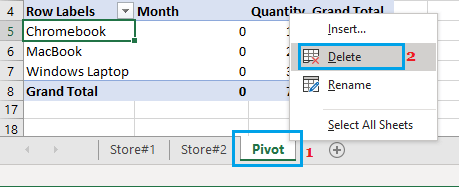 Manually Delete Worksheet in Excel