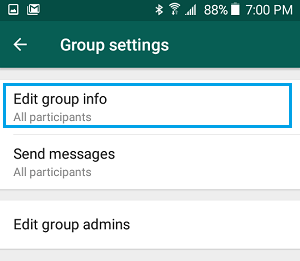 Edit Group Info Option in WhatsApp
