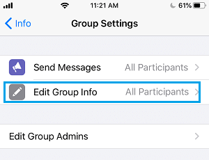 Edit WhatsApp Group Info Option