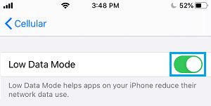 Enable Low Data Mode For Cellular on iPhone