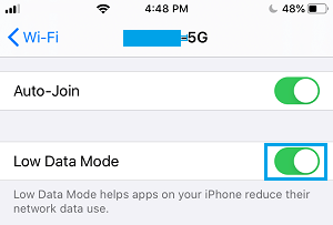 Enable Low Data Mode For WiFi on iPhone