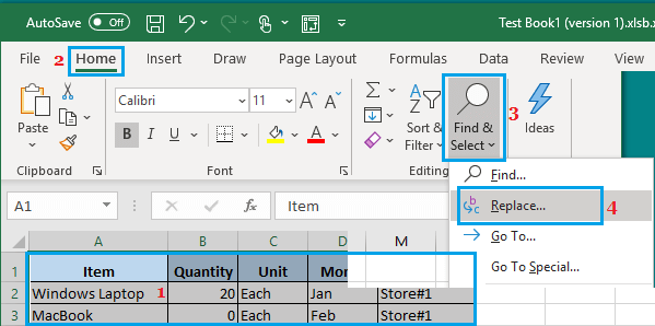 Find and Replace Option in Excel