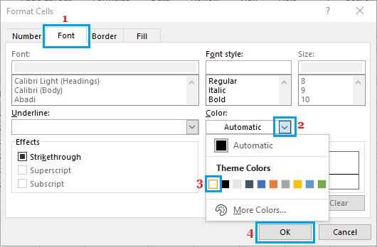 Format Cells Screen in Excel
