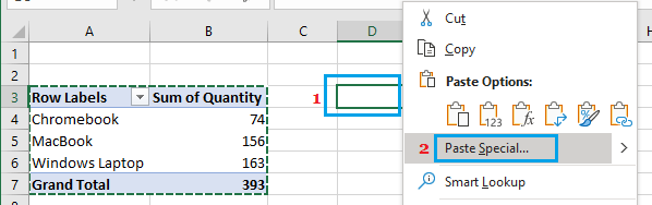 Paste Pivot Table Data