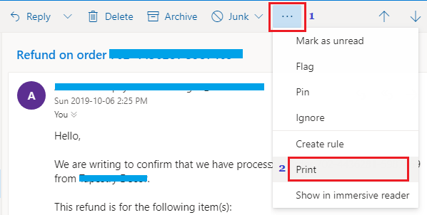 Print Email Option in Outlook Web Mail