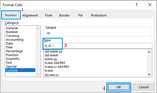 Replace Zeros with Dash in Excel