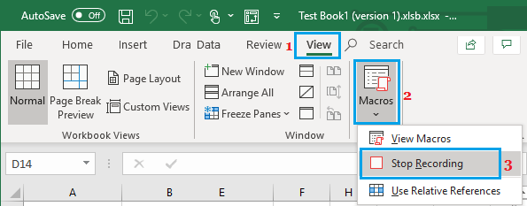 Stop Recording Macro Option in Excel