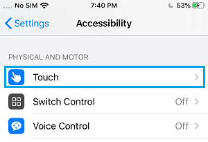 Touch Settings Option on iPhone