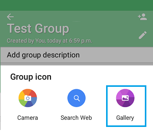Upload WhatsApp Icon from Photo Gallery