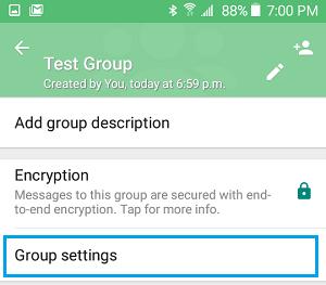 WhatsApp Group Settings Option