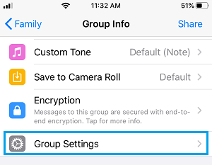 WhatsApp Group Settings Option