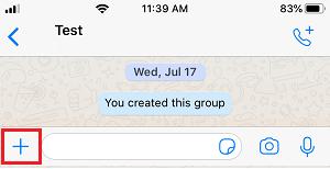 Plus Icon in WhatsApp