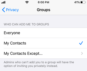 Who Can Add Me to WhatsApp Groups Screen on iPhone