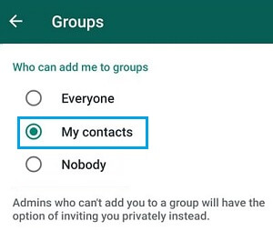 Who Can Add Me to Groups Option in WhatsApp Android