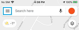 Google Maps 3 Line Menu Icon
