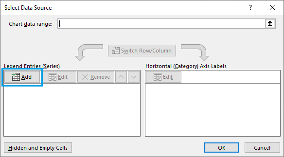 Add Option in Select in Excel Charts Data Source Dialogue Box
