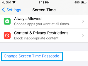 Change Screen Time Passcode Option on iPhone