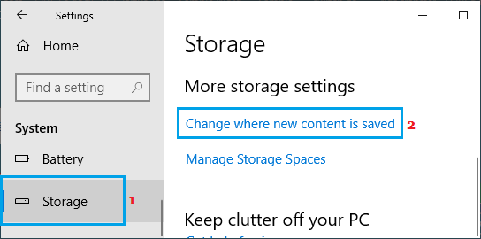 Change where new content is saved option in Windows