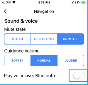 Disable Play Voice Over Bluetooth Option in Google Maps