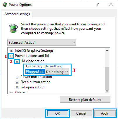Lid Closed Action in Windows 10