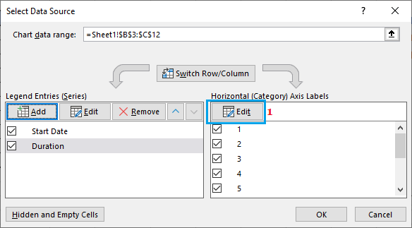Edit Option in Excel Charts Select Data Source Dialogue Box